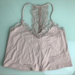 NWT Forever 21 Pink Lace Crop Tank Top